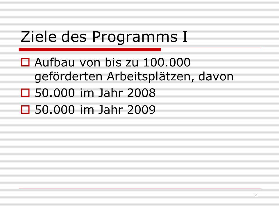 2 Ziele des Programms I Aufbau von bis zu 100.000 geförderten Arbeitsplätzen, davon 50.000 im Jahr 2008 50.000 im Jahr 2009