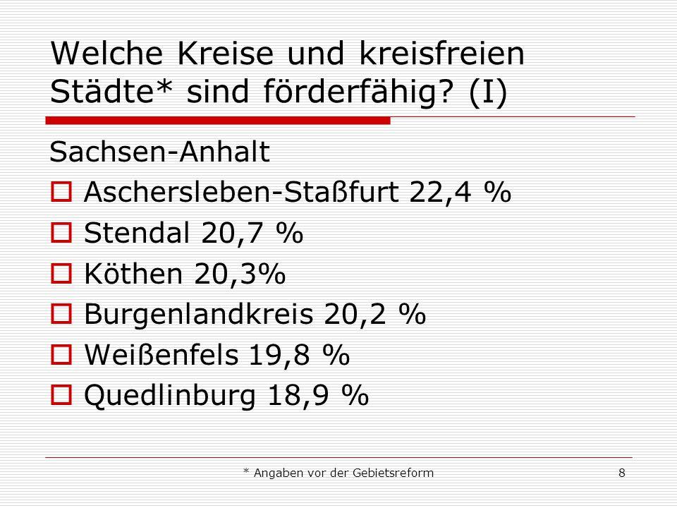 * Angaben vor der Gebietsreform8 Welche Kreise und kreisfreien Städte* sind förderfähig? (I) Sachsen-Anhalt Aschersleben-Staßfurt 22,4 % Stendal 20,7