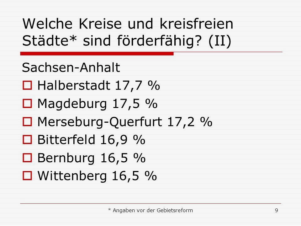 * Angaben vor der Gebietsreform9 Welche Kreise und kreisfreien Städte* sind förderfähig? (II) Sachsen-Anhalt Halberstadt 17,7 % Magdeburg 17,5 % Merse