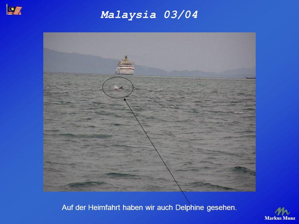 Malaysia 03/04 Markus Munz Auf der Heimfahrt haben wir auch Delphine gesehen.