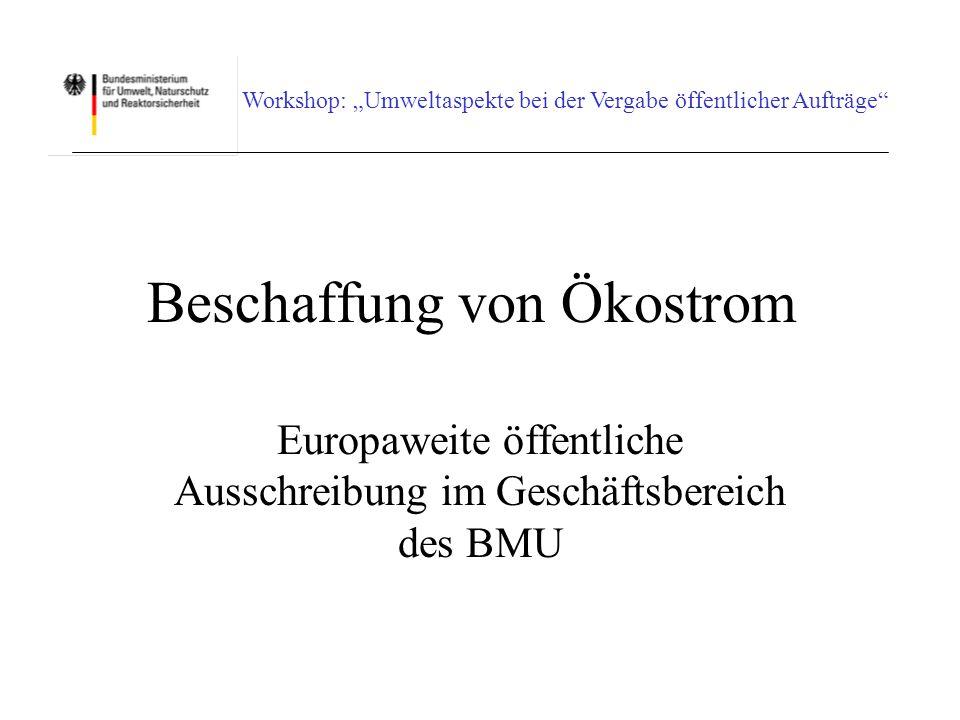 Workshop: Umweltaspekte bei der Vergabe öffentlicher Aufträge Zusätzlicher Umweltnutzen (Nettonutzen) Ein Umweltnutzen i.S.d.