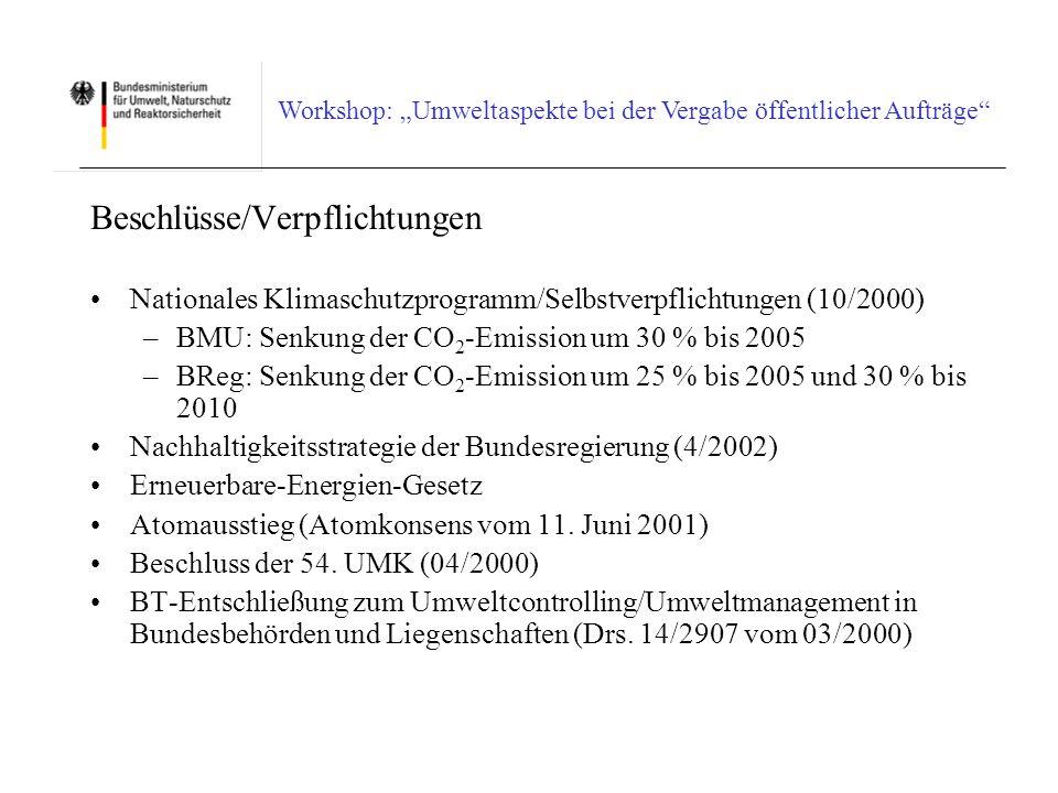 Workshop: Umweltaspekte bei der Vergabe öffentlicher Aufträge Ermittlung des wirtschaftlichsten Angebotes II Wertungssystem (Punktesystem) Jedes Angebot erhält 790 Basispunkte Erfüllung der Mindestanforderung (30 %): 0 Zusatzpunkte.