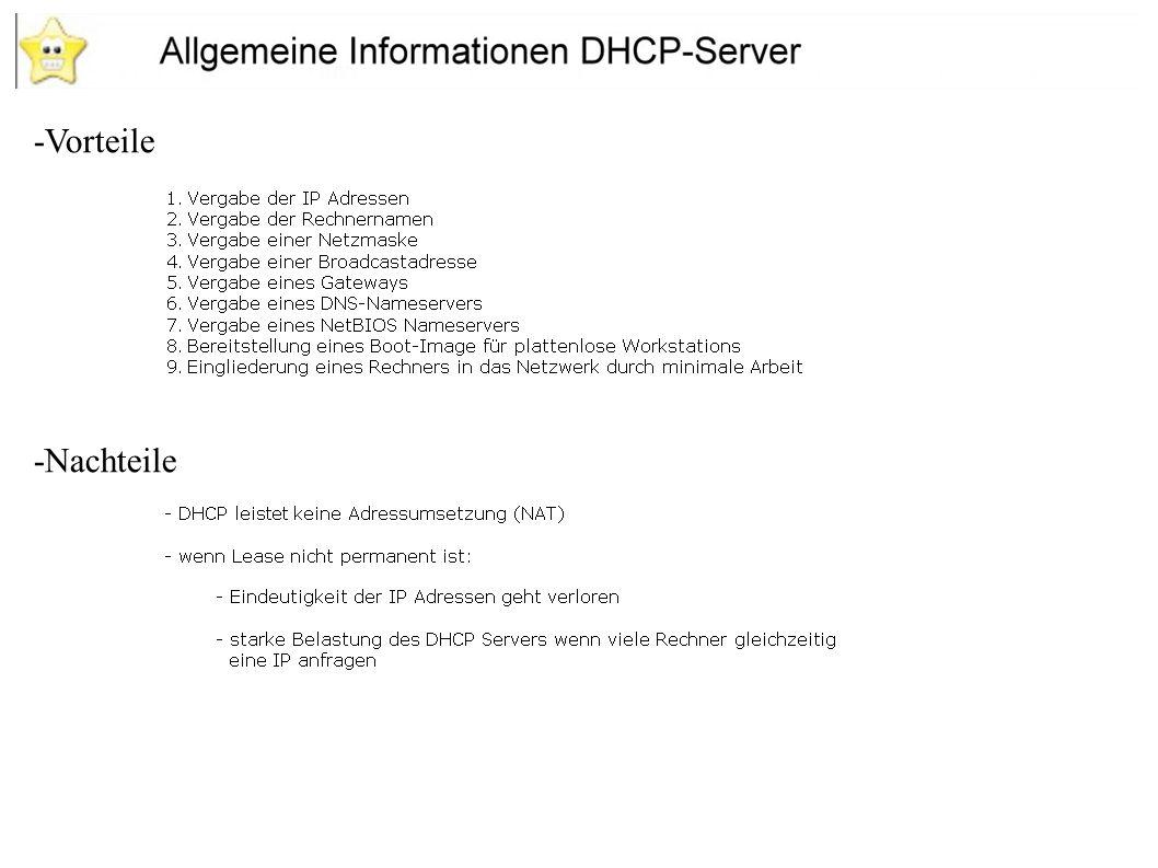 -Es gibt 2 Möglichkeiten Adressen zu vergeben -Dynamische Adressen -Nur an Rechner die reine Workstations sind -Die Anzahl der eingeschalteter PC`s darf die Anzahl der verfügbaren IP-Adressen nicht überschreiten -Statische Adressen -Dient der Adressevergabe bei Servern -Die MAC-Adresse des Gerätes muss bekannt sein -Die IP-Adresse bleibt festgelegt Installation des DHCP-Servers
