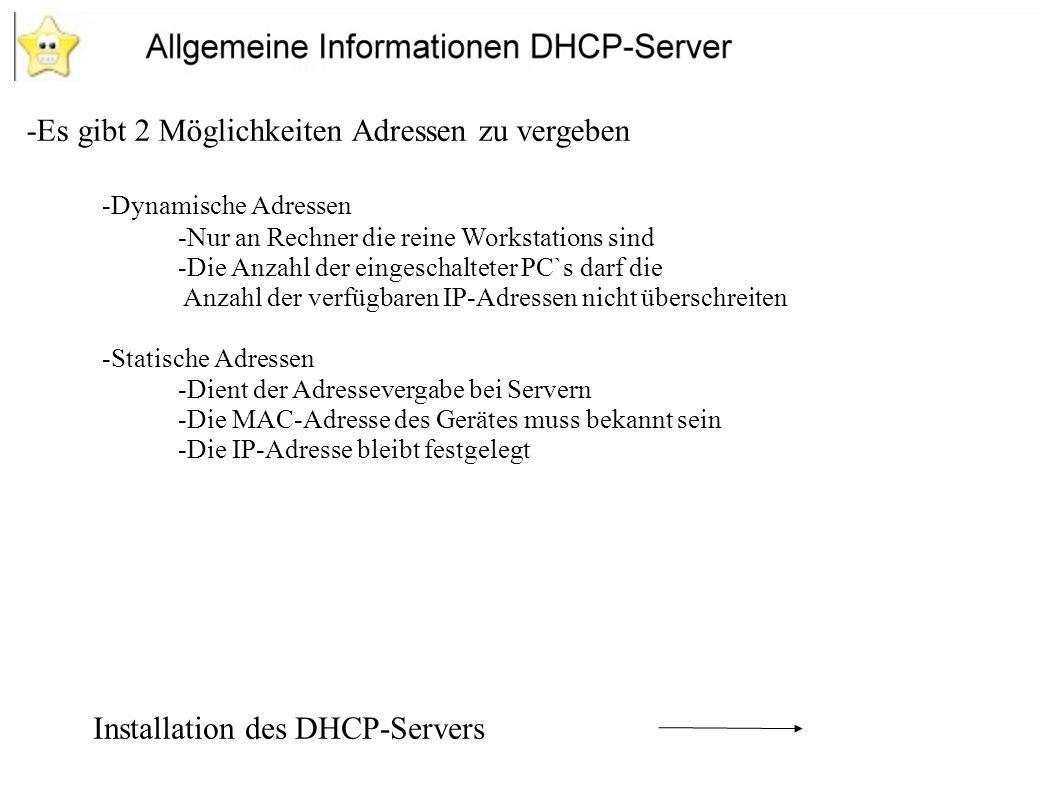 -Yast 2 Module -Software -Software installieren / löschen - Im suchfenster dhcp eingeben -Einen Haken vor das Modul setzen um das Paket zu installieren Konfiguration des DHCP-Servers