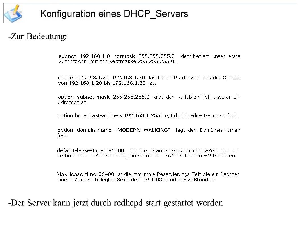 -Gast Account: -Domäne heißt MODERN_WALKING -Passwörter werden verschlüsselt gesendet und empfangen -Der NetBiosname lautet Naddel -Jeder Login wird in der Datei /var/log/samba.log gespeichert Tauschverzeichnisse