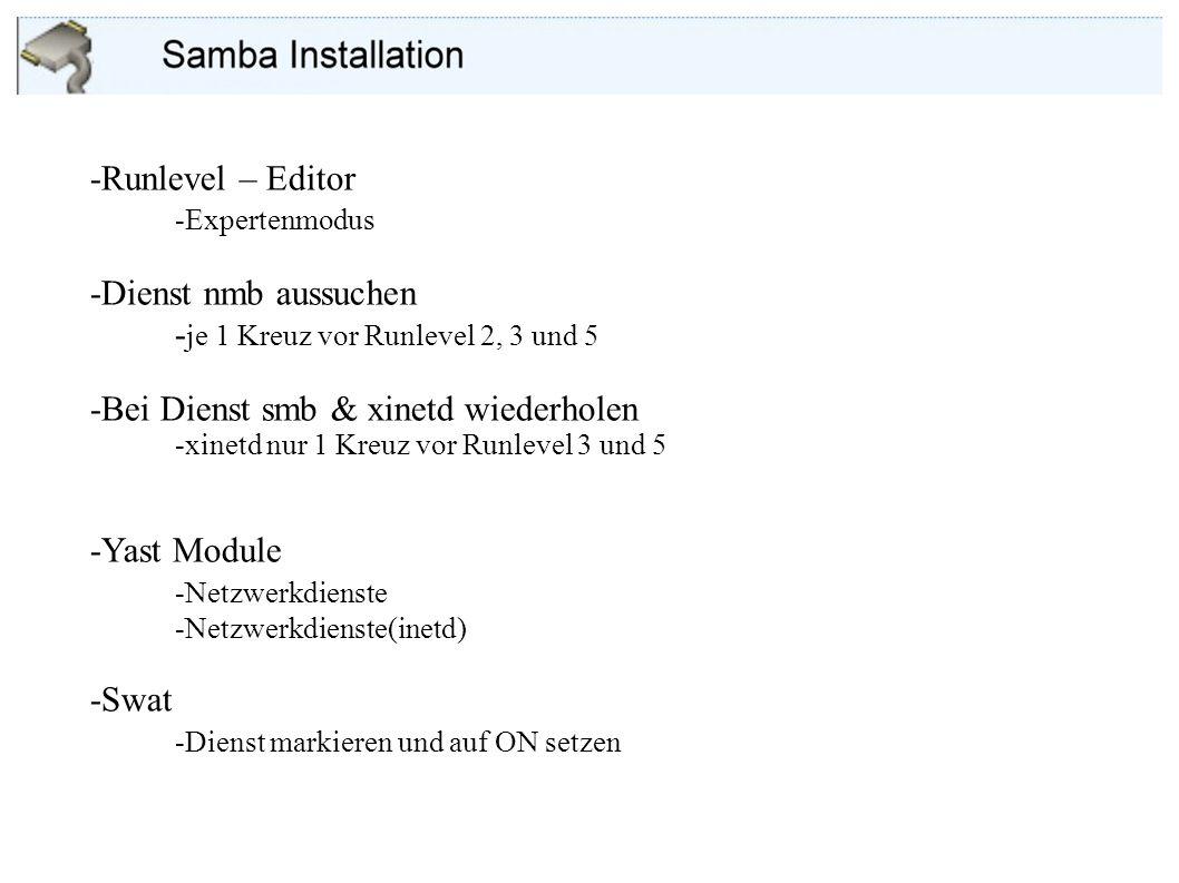 Konfiguration im Webbrowser (Swat)