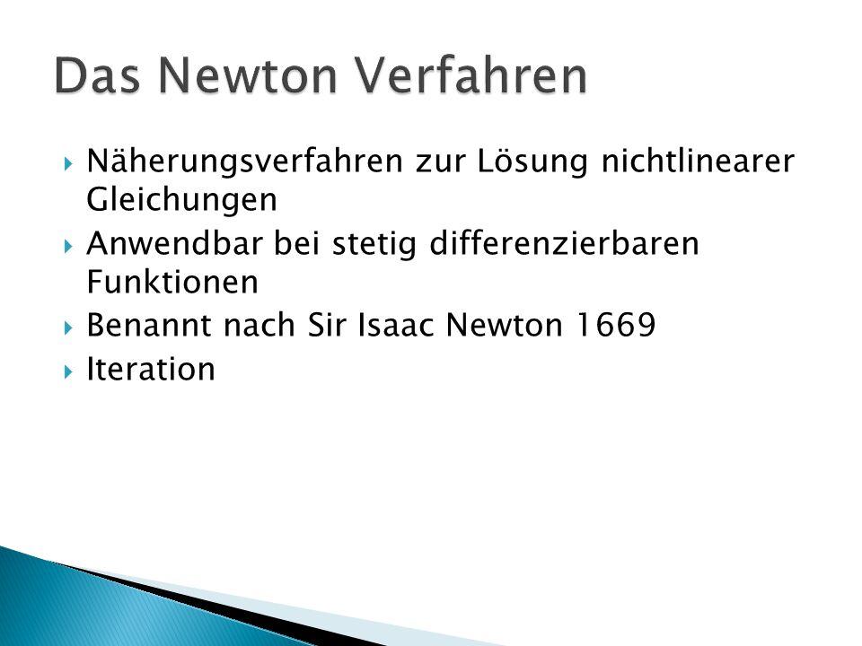 Näherungsverfahren zur Lösung nichtlinearer Gleichungen Anwendbar bei stetig differenzierbaren Funktionen Benannt nach Sir Isaac Newton 1669 Iteration