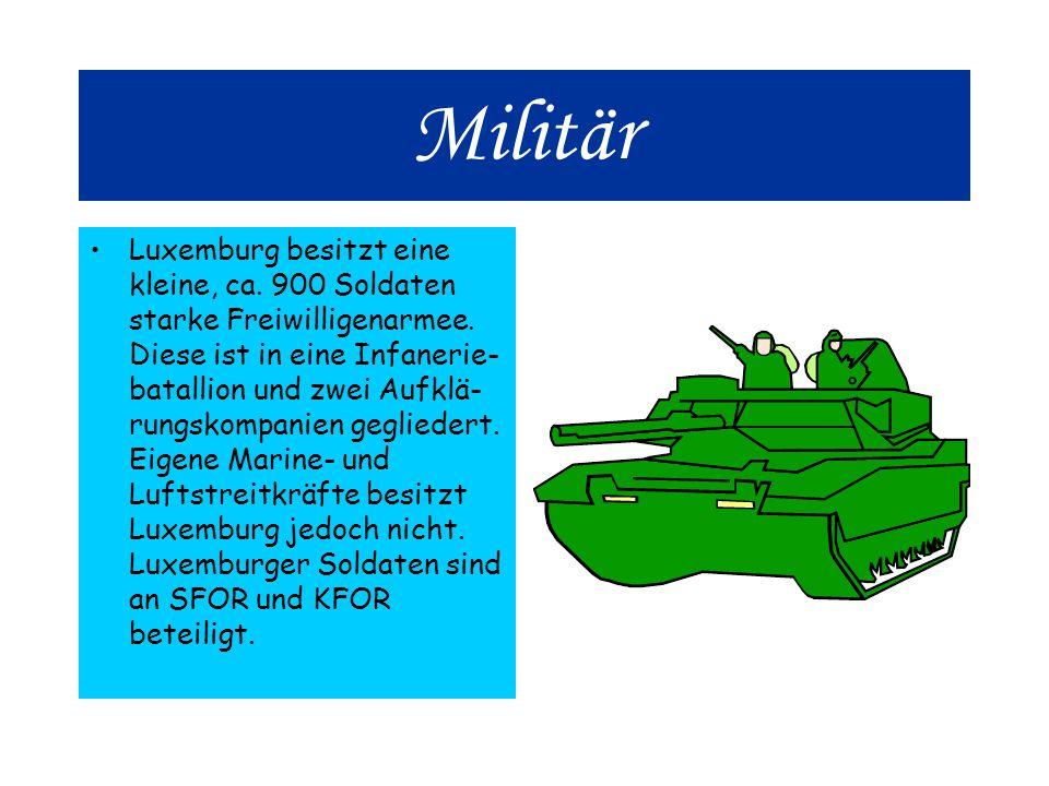Militär Luxemburg besitzt eine kleine, ca.900 Soldaten starke Freiwilligenarmee.