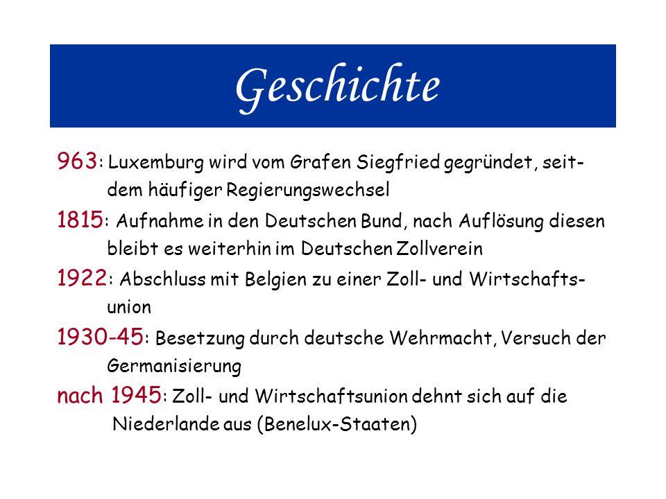 Geschichte 963 : Luxemburg wird vom Grafen Siegfried gegründet, seit- dem häufiger Regierungswechsel 1815 : Aufnahme in den Deutschen Bund, nach Auflösung diesen bleibt es weiterhin im Deutschen Zollverein 1922 : Abschluss mit Belgien zu einer Zoll- und Wirtschafts- union 1930-45 : Besetzung durch deutsche Wehrmacht, Versuch der Germanisierung nach 1945 : Zoll- und Wirtschaftsunion dehnt sich auf die Niederlande aus (Benelux-Staaten)