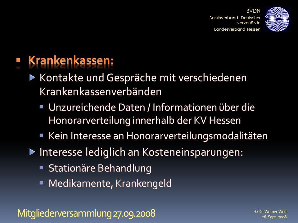 BVDN Berufsverband Deutscher Nervenärzte Landesverband Hessen © Dr. Werner Wolf 26. Sept. 2008