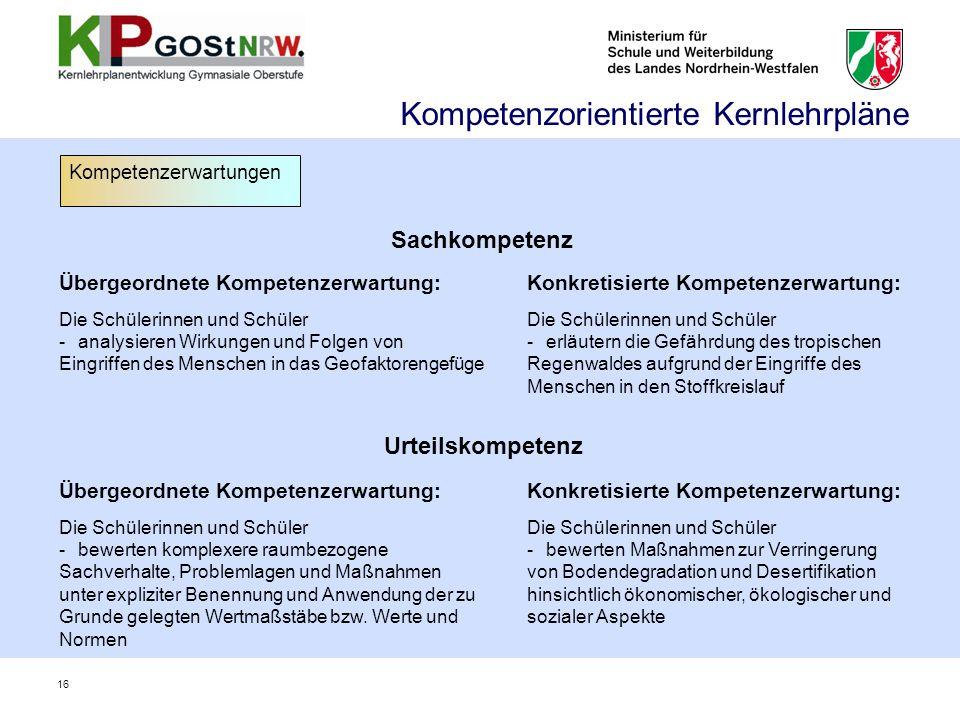 Sachkompetenz Übergeordnete Kompetenzerwartung: Die Schülerinnen und Schüler -analysieren Wirkungen und Folgen von Eingriffen des Menschen in das Geof