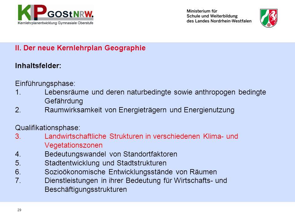 29 II. Der neue Kernlehrplan Geographie Inhaltsfelder: Einführungsphase: 1. Lebensräume und deren naturbedingte sowie anthropogen bedingte Gefährdung