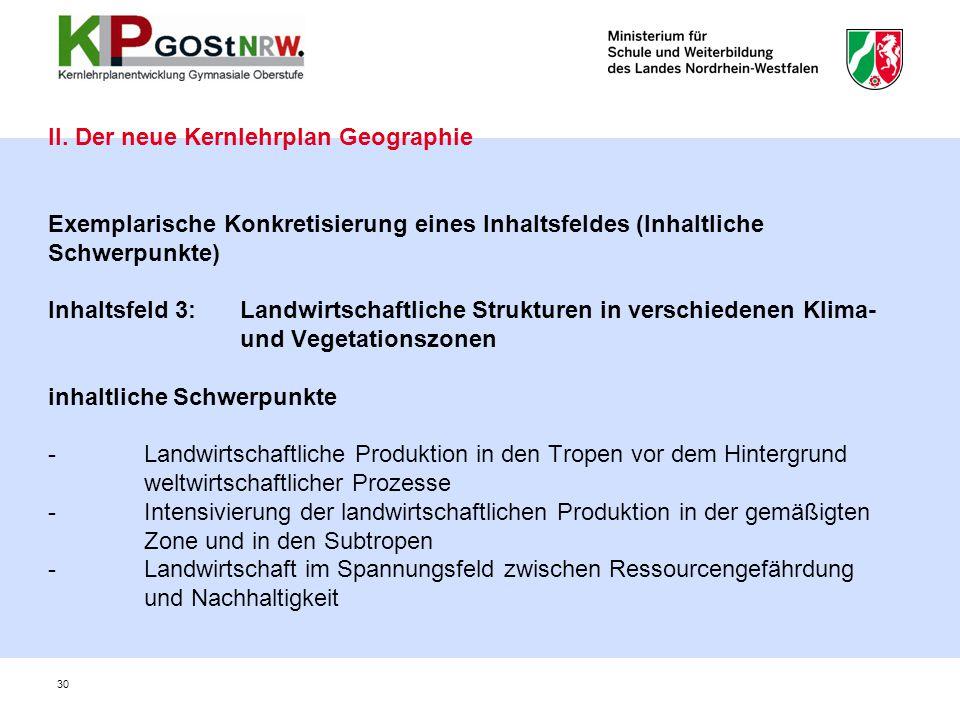 30 II. Der neue Kernlehrplan Geographie Exemplarische Konkretisierung eines Inhaltsfeldes (Inhaltliche Schwerpunkte) Inhaltsfeld 3: Landwirtschaftlich