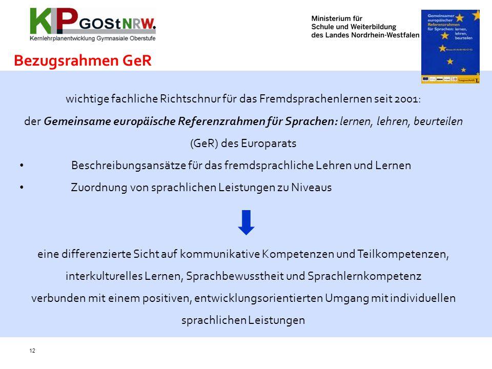 12 wichtige fachliche Richtschnur für das Fremdsprachenlernen seit 2001: der Gemeinsame europäische Referenzrahmen für Sprachen: lernen, lehren, beurt