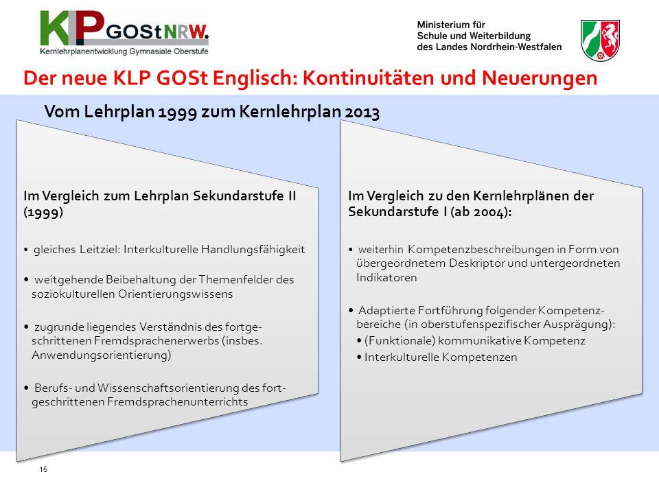 Der neue KLP GOSt Englisch: Kontinuitäten und Neuerungen Im Vergleich zum Lehrplan Sekundarstufe II (1999) gleiches Leitziel: Interkulturelle Handlung