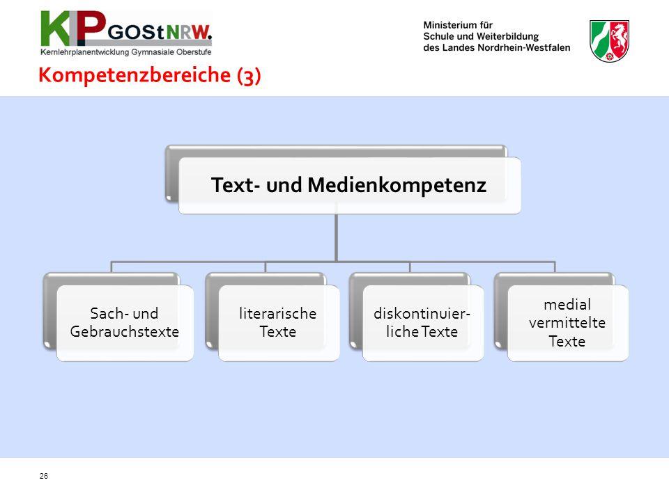 Kompetenzbereiche (3) 26 Text- und Medienkompetenz Sach- und Gebrauchstexte literarische Texte diskontinuier- liche Texte medial vermittelte Texte