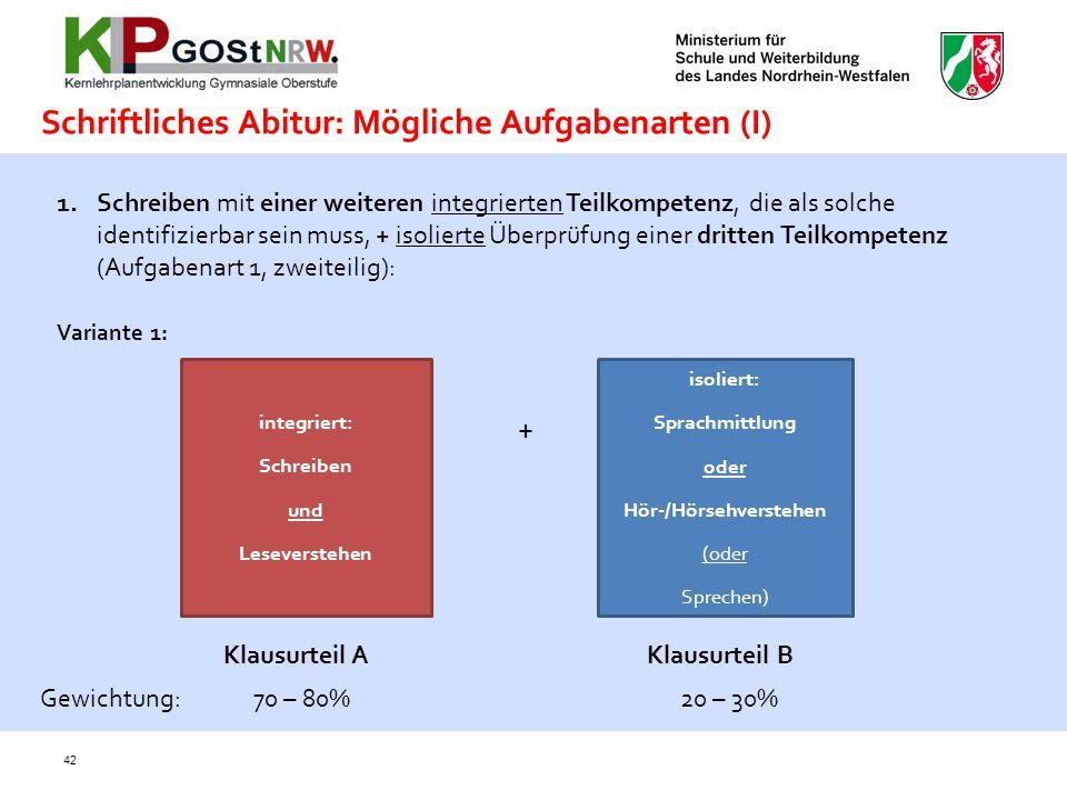 42 Schriftliches Abitur: Mögliche Aufgabenarten (I) 1.Schreiben mit einer weiteren integrierten Teilkompetenz, die als solche identifizierbar sein mus