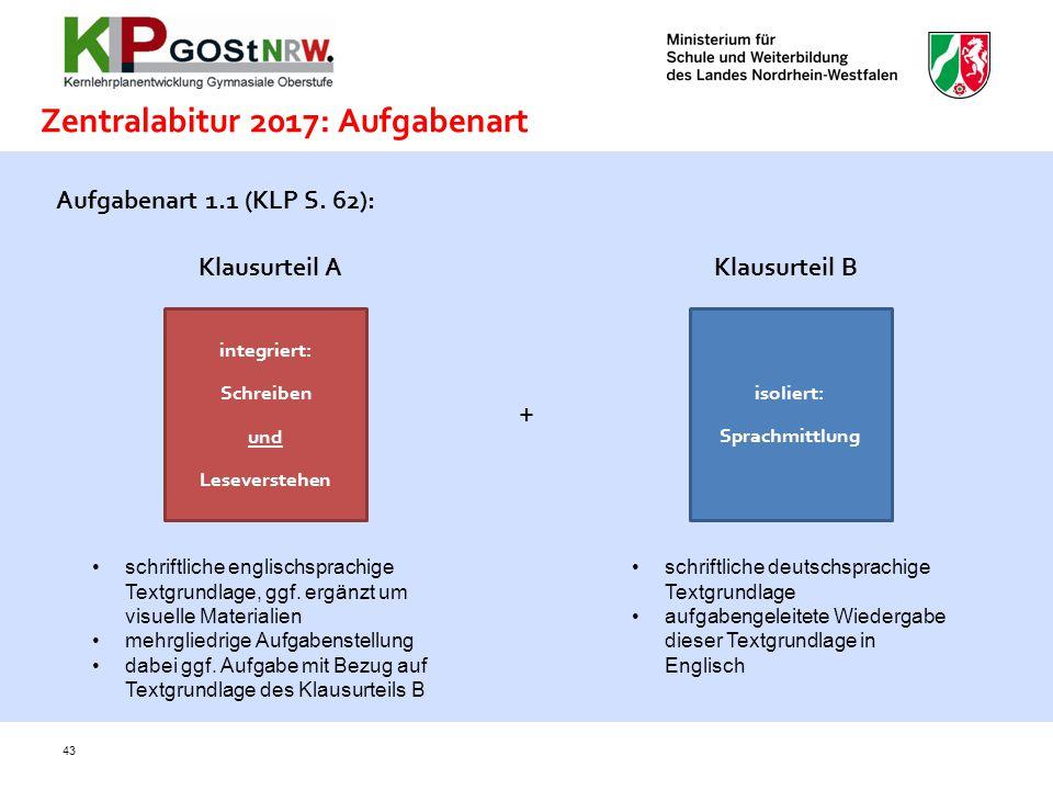 43 Zentralabitur 2017: Aufgabenart Aufgabenart 1.1 (KLP S. 62): integriert: Schreiben und Leseverstehen + isoliert: Sprachmittlung Klausurteil A Klaus