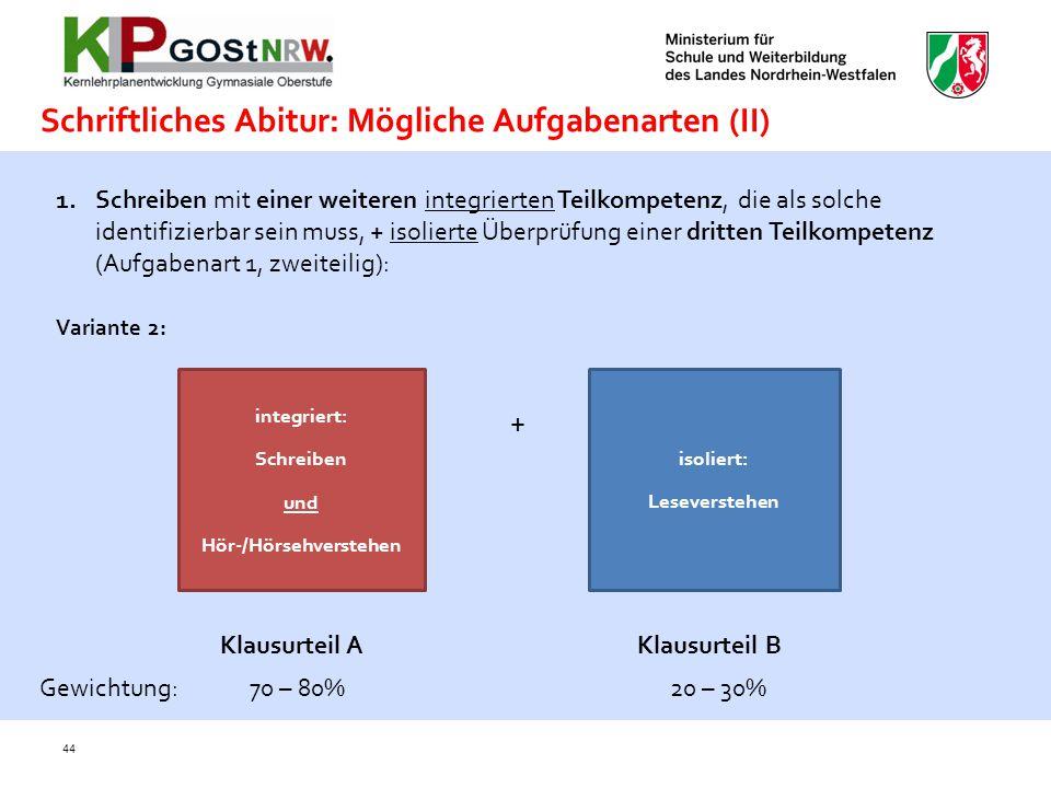 44 Schriftliches Abitur: Mögliche Aufgabenarten (II) 1.Schreiben mit einer weiteren integrierten Teilkompetenz, die als solche identifizierbar sein mu