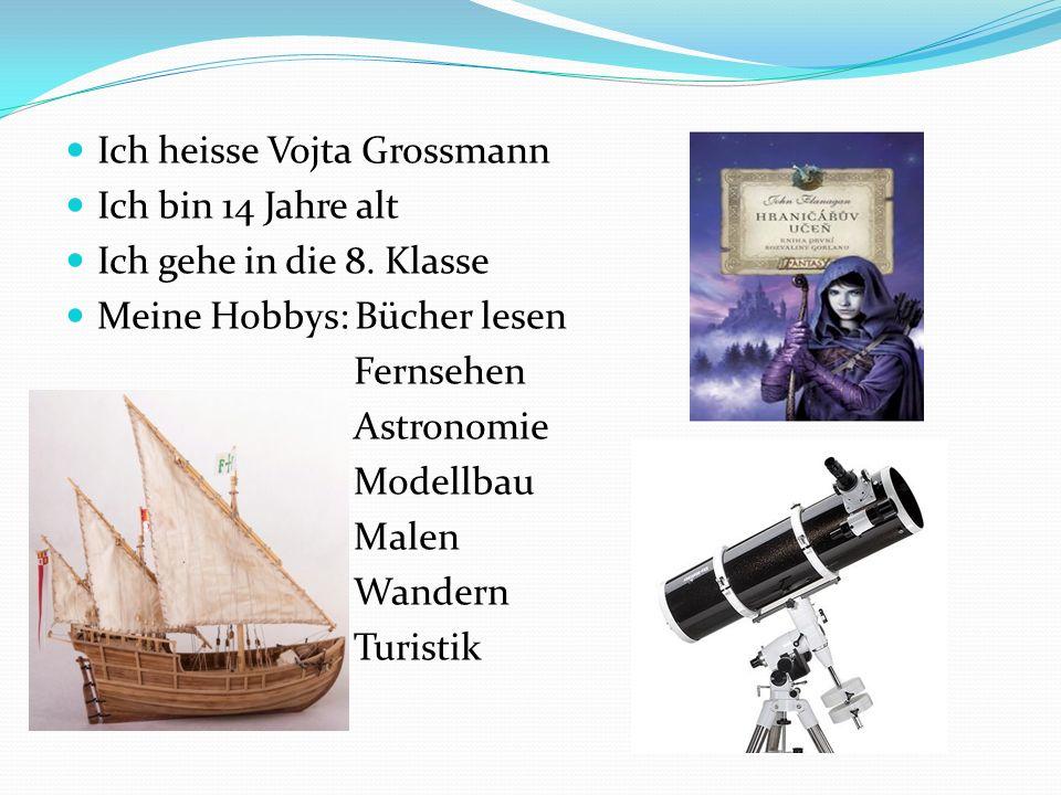 Ich heisse Vojta Grossmann Ich bin 14 Jahre alt Ich gehe in die 8. Klasse Meine Hobbys: Bücher lesen Fernsehen Astronomie Modellbau Malen Wandern Turi