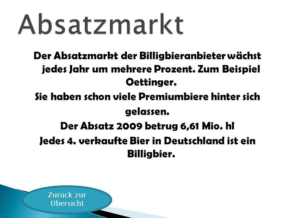 Der Absatzmarkt der Billigbieranbieter wächst jedes Jahr um mehrere Prozent. Zum Beispiel Oettinger. Sie haben schon viele Premiumbiere hinter sich ge