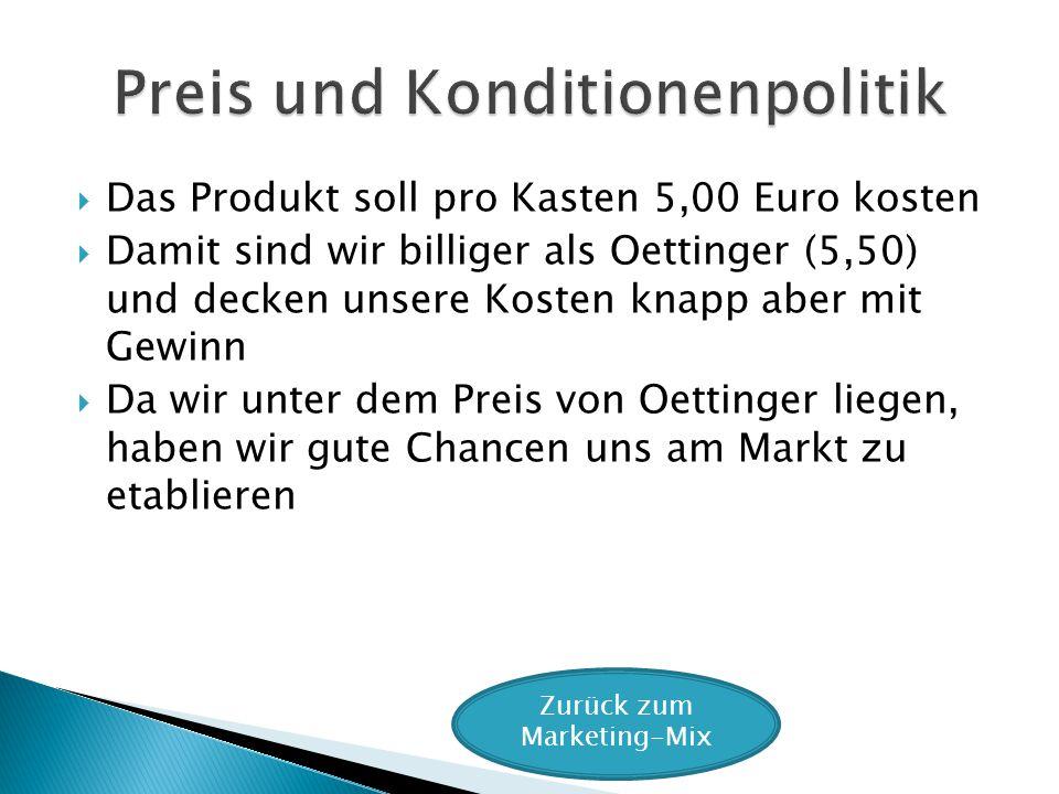 Das Produkt soll pro Kasten 5,00 Euro kosten Damit sind wir billiger als Oettinger (5,50) und decken unsere Kosten knapp aber mit Gewinn Da wir unter