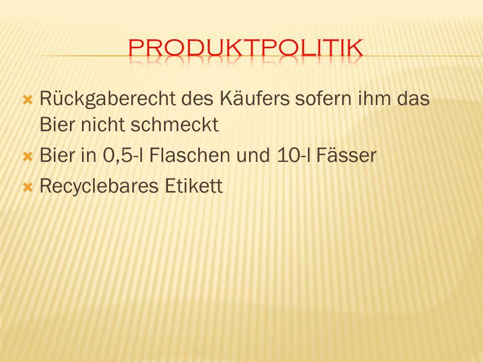 Rückgaberecht des Käufers sofern ihm das Bier nicht schmeckt Bier in 0,5-l Flaschen und 10-l Fässer Recyclebares Etikett