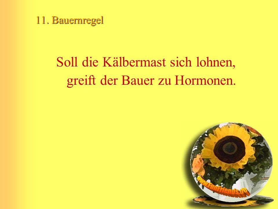 11. Bauernregel Soll die Kälbermast sich lohnen, greift der Bauer zu Hormonen.