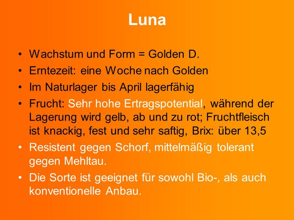 Wachstum und Form = Golden D. Erntezeit: eine Woche nach Golden Im Naturlager bis April lagerfähig Frucht: Sehr hohe Ertragspotential, während der Lag