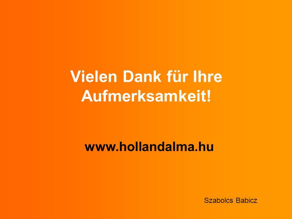 Vielen Dank für Ihre Aufmerksamkeit! www.hollandalma.hu Szabolcs Babicz
