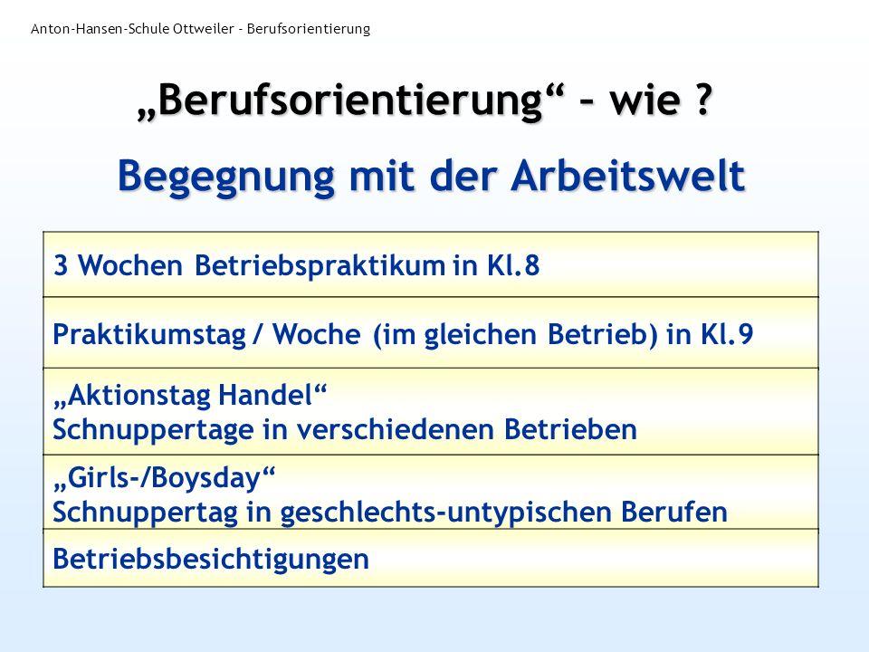 Begegnung mit der Arbeitswelt Anton-Hansen-Schule Ottweiler - Berufsorientierung 3 Wochen Betriebspraktikum in Kl.8 Berufsorientierung – wie ? Praktik
