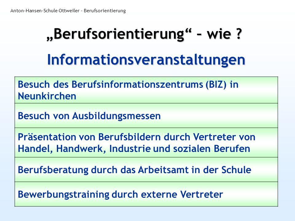 Informationsveranstaltungen Anton-Hansen-Schule Ottweiler - Berufsorientierung Besuch des Berufsinformationszentrums (BIZ) in Neunkirchen Besuch von A