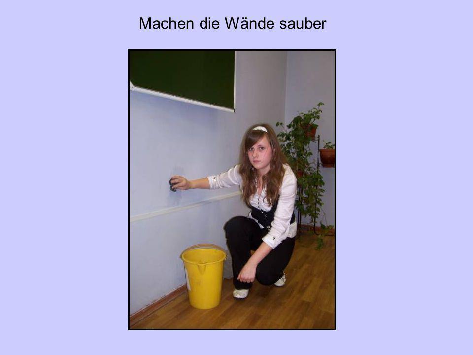 Machen die Wände sauber
