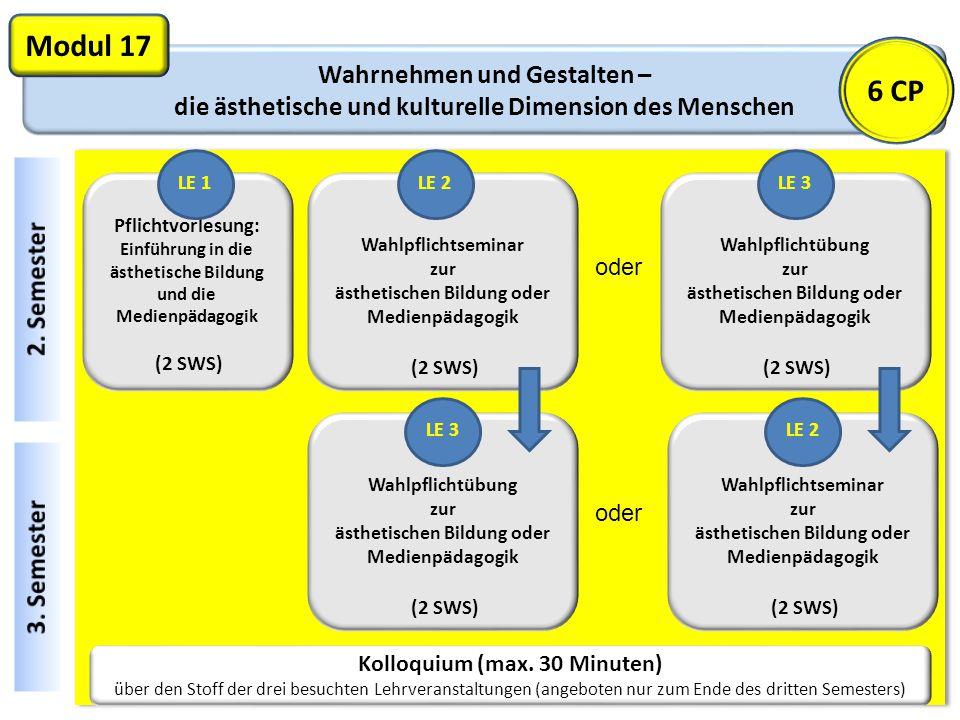 Wahrnehmen und Gestalten – die ästhetische und kulturelle Dimension des Menschen Modul 17 Kolloquium (max.