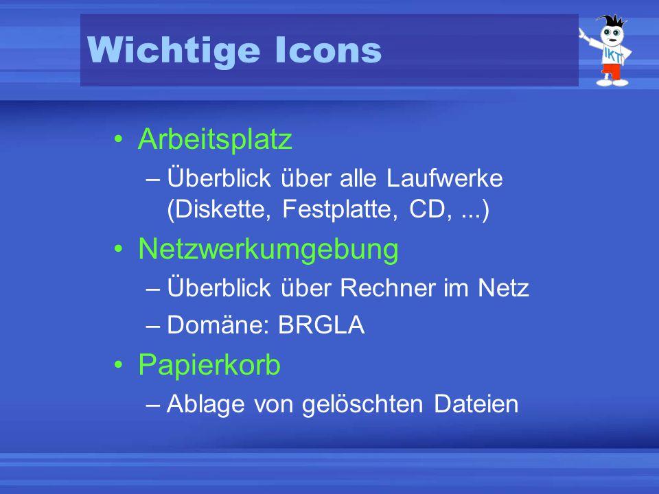Wichtige Icons Arbeitsplatz –Überblick über alle Laufwerke (Diskette, Festplatte, CD,...) Netzwerkumgebung –Überblick über Rechner im Netz –Domäne: BRGLA Papierkorb –Ablage von gelöschten Dateien