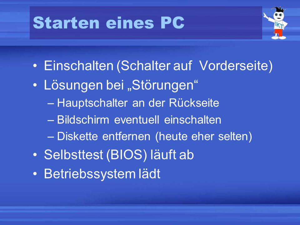 Einschalten (Schalter auf Vorderseite) Lösungen bei Störungen –Hauptschalter an der Rückseite –Bildschirm eventuell einschalten –Diskette entfernen (heute eher selten) Selbsttest (BIOS) läuft ab Betriebssystem lädt Starten eines PC
