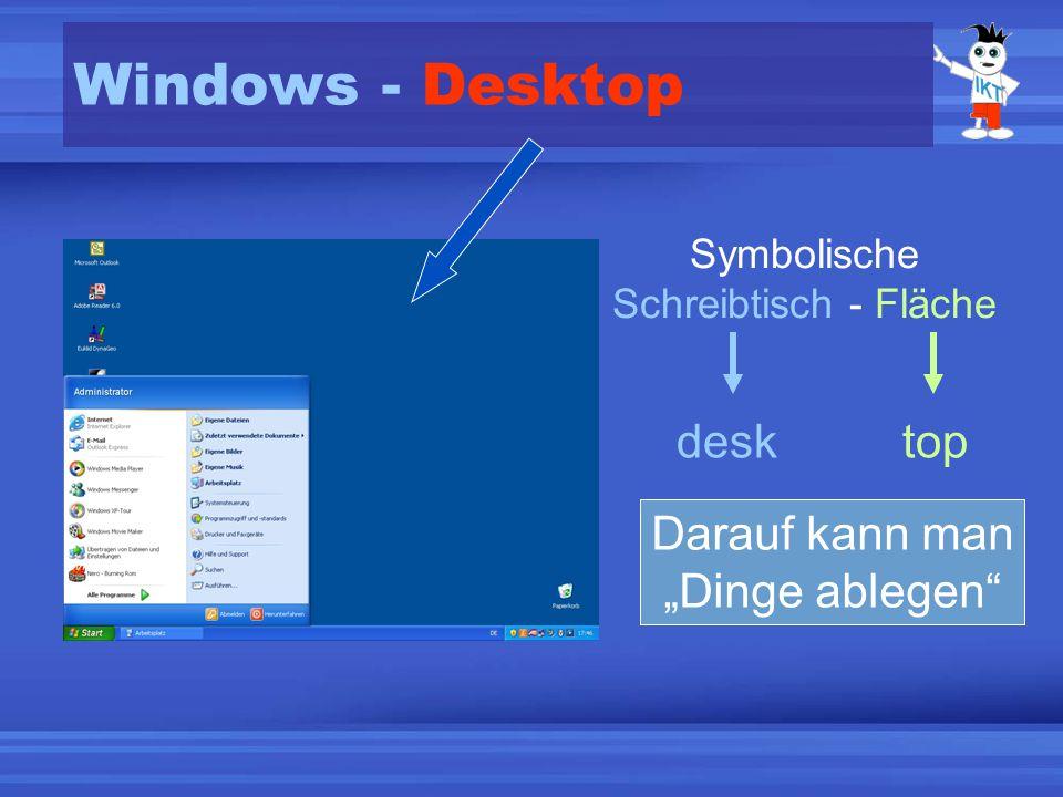 Windows - Desktop Symbolische Schreibtisch - Fläche desktop Darauf kann man Dinge ablegen