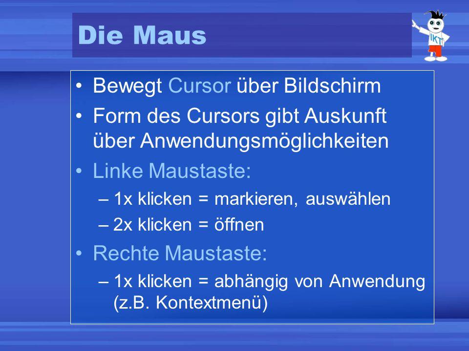 Die Maus Bewegt Cursor über Bildschirm Form des Cursors gibt Auskunft über Anwendungsmöglichkeiten Linke Maustaste: –1x klicken = markieren, auswählen