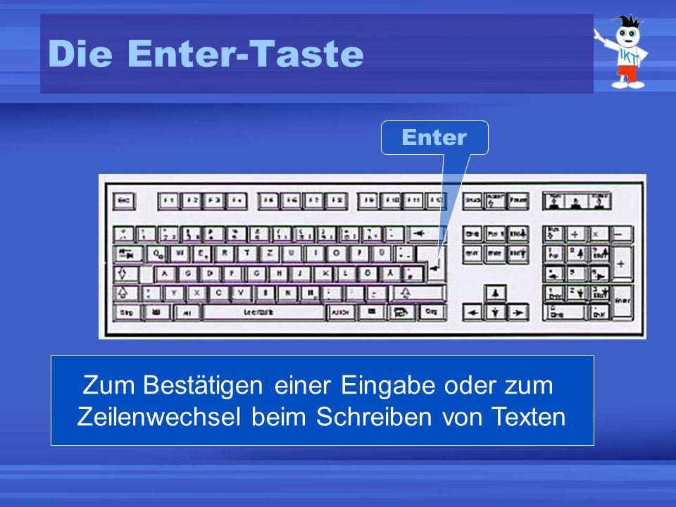 Die Enter-Taste Enter Zum Bestätigen einer Eingabe oder zum Zeilenwechsel beim Schreiben von Texten