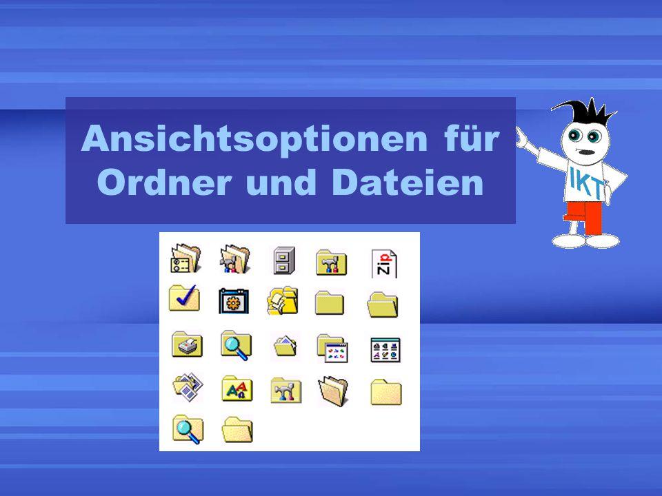 Ansichtsoptionen für Ordner und Dateien