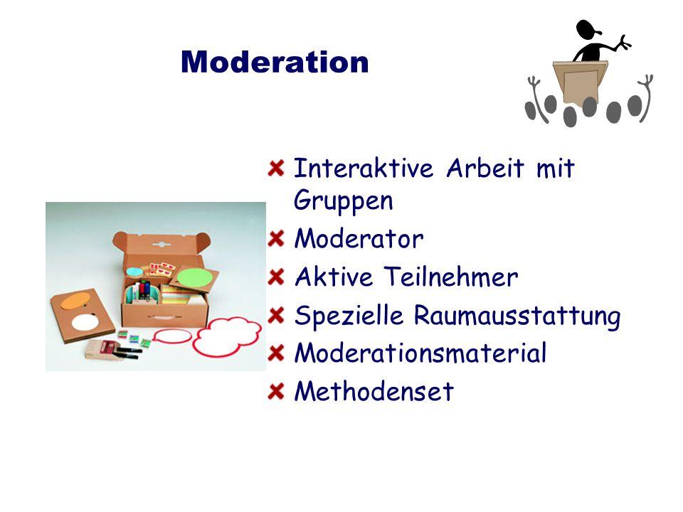 Moderation Interaktive Arbeit mit Gruppen Moderator Aktive Teilnehmer Spezielle Raumausstattung Moderationsmaterial Methodenset