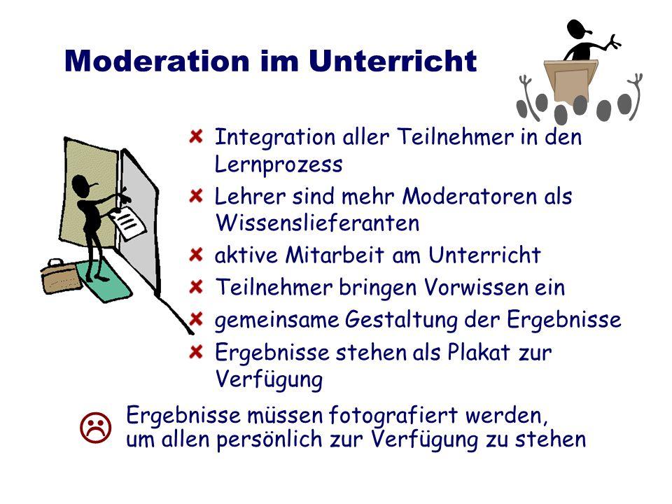 Moderation im Unterricht Integration aller Teilnehmer in den Lernprozess Lehrer sind mehr Moderatoren als Wissenslieferanten aktive Mitarbeit am Unter