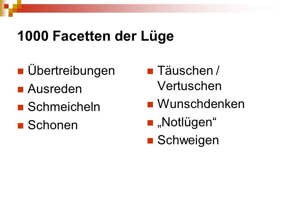1000 Facetten der Lüge Übertreibungen Ausreden Schmeicheln Schonen Täuschen / Vertuschen Wunschdenken Notlügen Schweigen