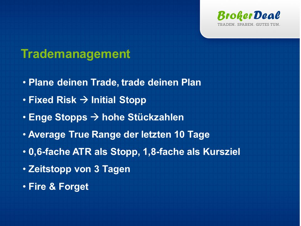 Trademanagement Plane deinen Trade, trade deinen Plan Fixed Risk Initial Stopp Enge Stopps hohe Stückzahlen Average True Range der letzten 10 Tage 0,6-fache ATR als Stopp, 1,8-fache als Kursziel Zeitstopp von 3 Tagen Fire & Forget