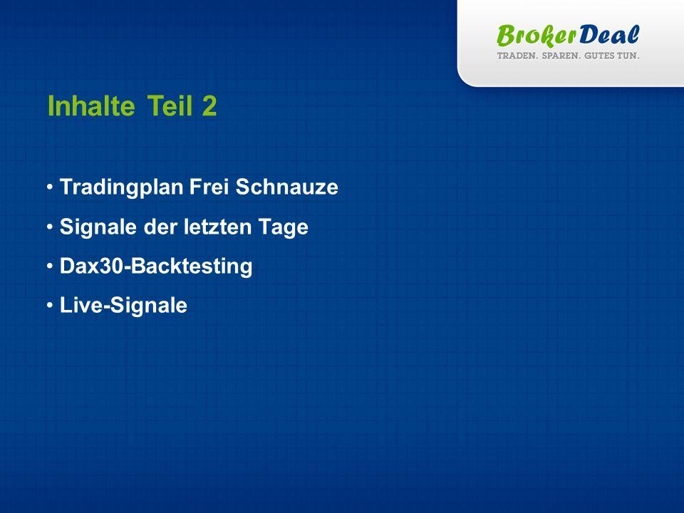 Tradingplan Frei Schnauze Signale der letzten Tage Dax30-Backtesting Live-Signale Inhalte Teil 2