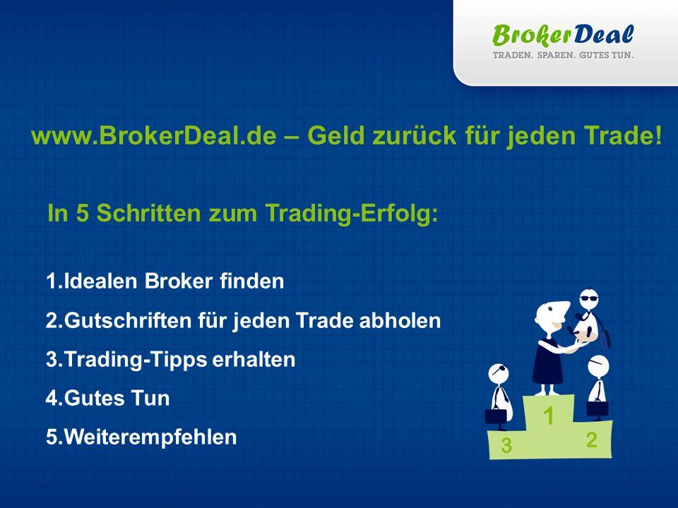 In 5 Schritten zum Trading-Erfolg: 1.Idealen Broker finden 2.Gutschriften für jeden Trade abholen 3.Trading-Tipps erhalten 4.Gutes Tun 5.Weiterempfehlen www.BrokerDeal.de – Geld zurück für jeden Trade!