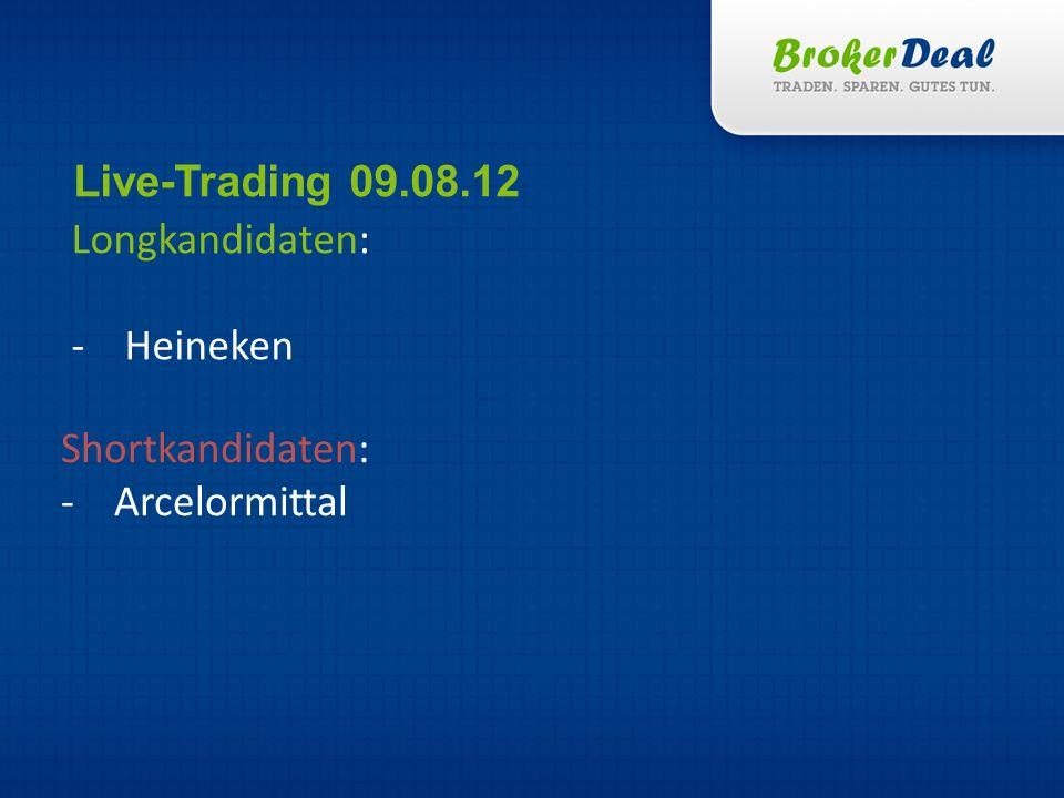 Longkandidaten: -Heineken Live-Trading 09.08.12 Shortkandidaten: -Arcelormittal