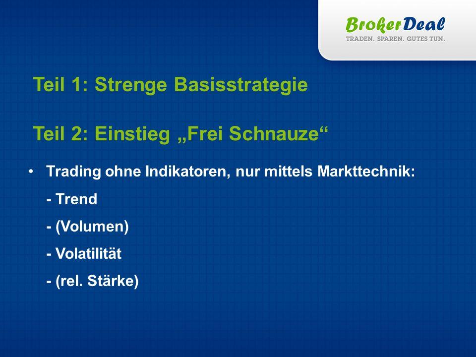 Teil 1: Strenge Basisstrategie Trading ohne Indikatoren, nur mittels Markttechnik: - Trend - (Volumen) - Volatilität - (rel. Stärke) Teil 2: Einstieg