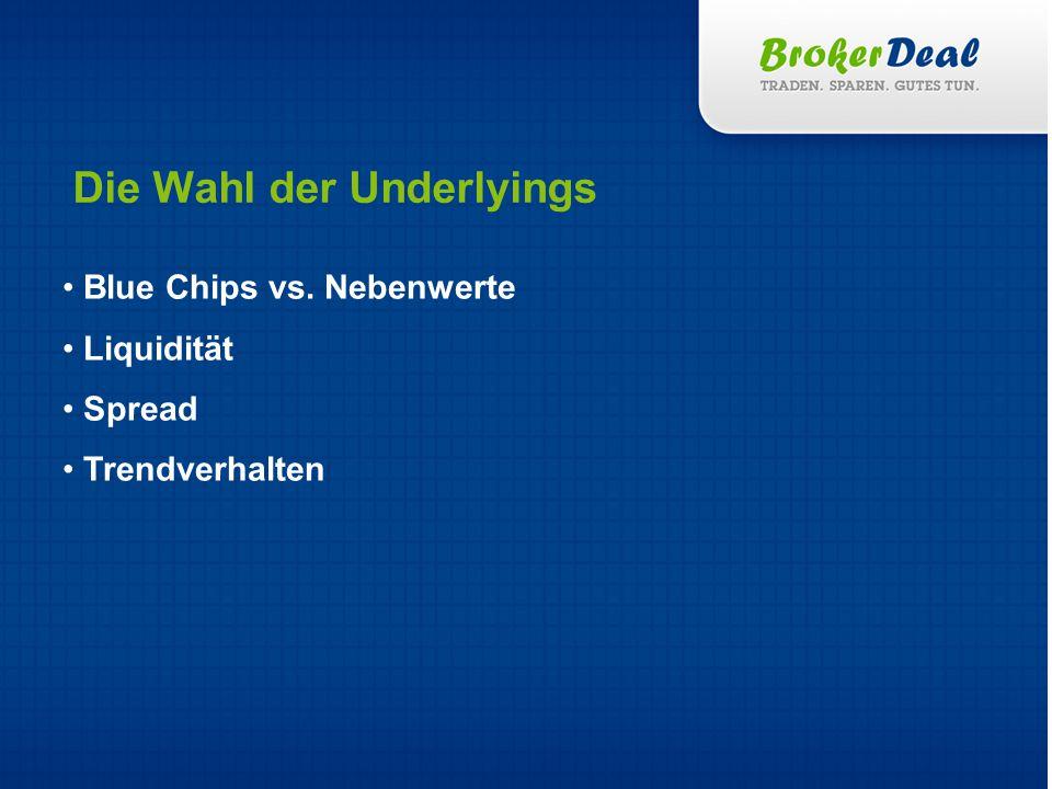 Blue Chips vs. Nebenwerte Liquidität Spread Trendverhalten Die Wahl der Underlyings