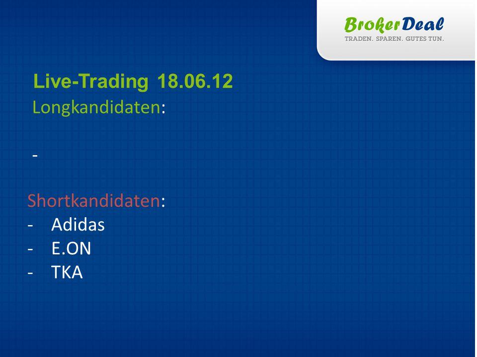 Longkandidaten: Live-Trading 18.06.12 Shortkandidaten: -Adidas -E.ON -TKA